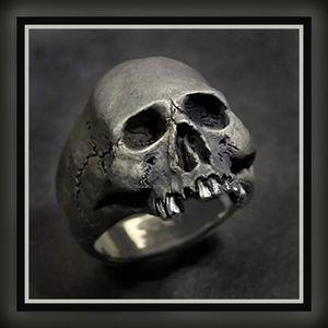 Mens Gothic Skull Biker Punk Stainless Steel Ring